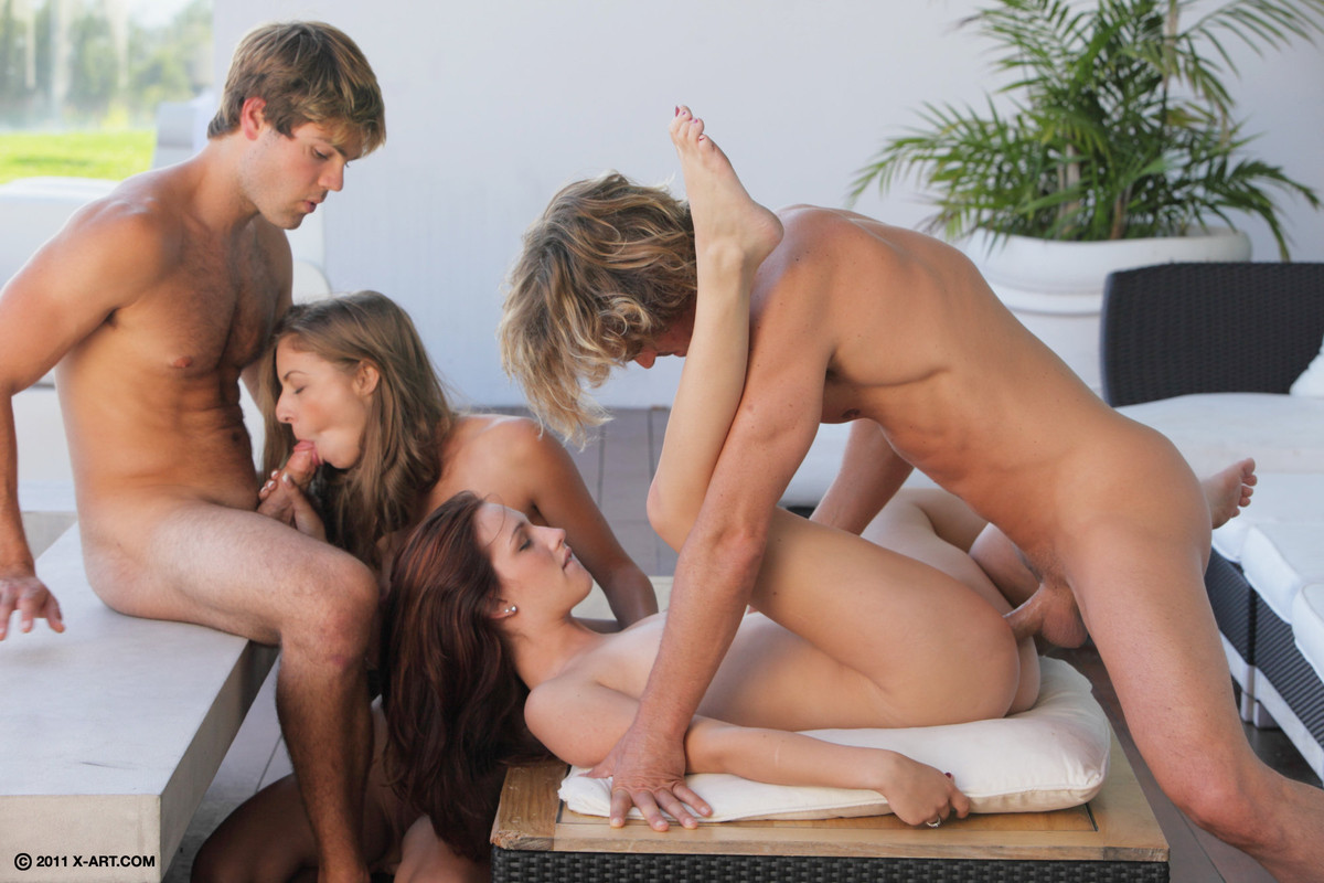 A fun foursome begins when 2 girls want some action 7